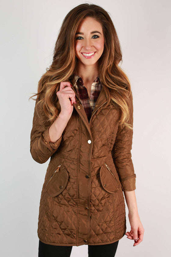 Madison Square Cuddles Quilted Jacket in Mocha