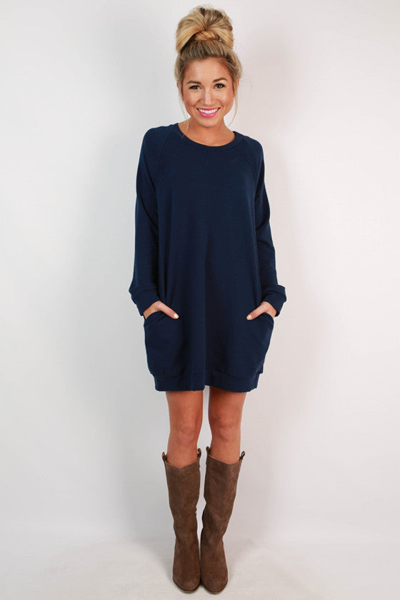 Cozy Jet Setting Sweatshirt Tunic Dress in Navy