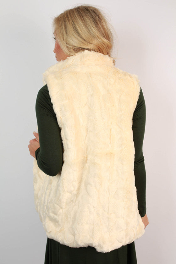 Luxe In The City Faux Fur Vest in Cream
