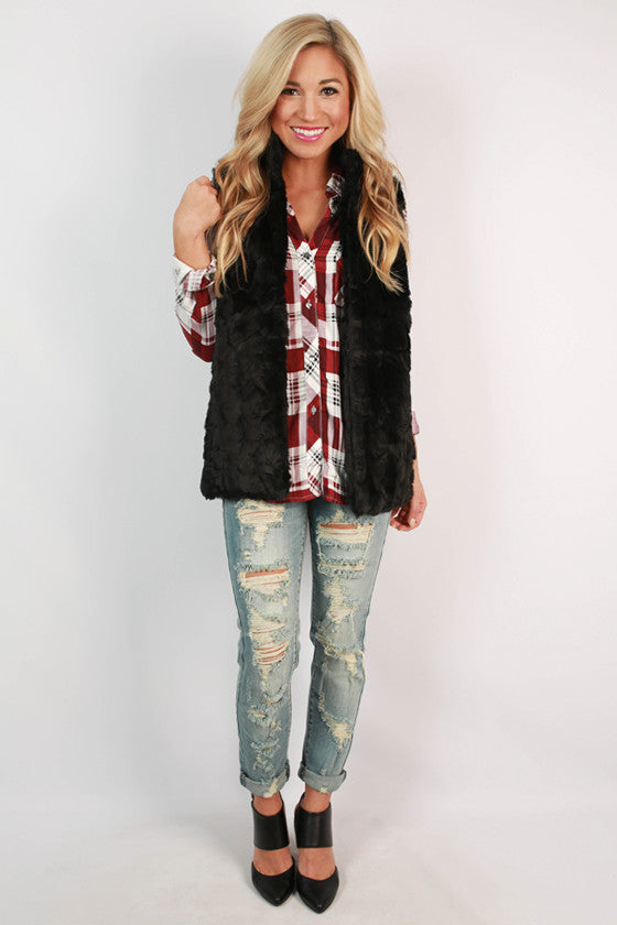 Luxe In The City Faux Fur Vest in Black