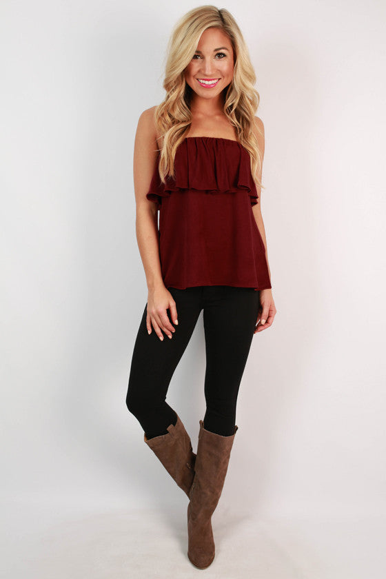 Parisian Perfection Faux Suede Strapless Top in Maroon
