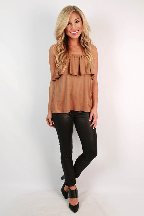 Parisian Perfection Faux Suede Strapless Top in Tan