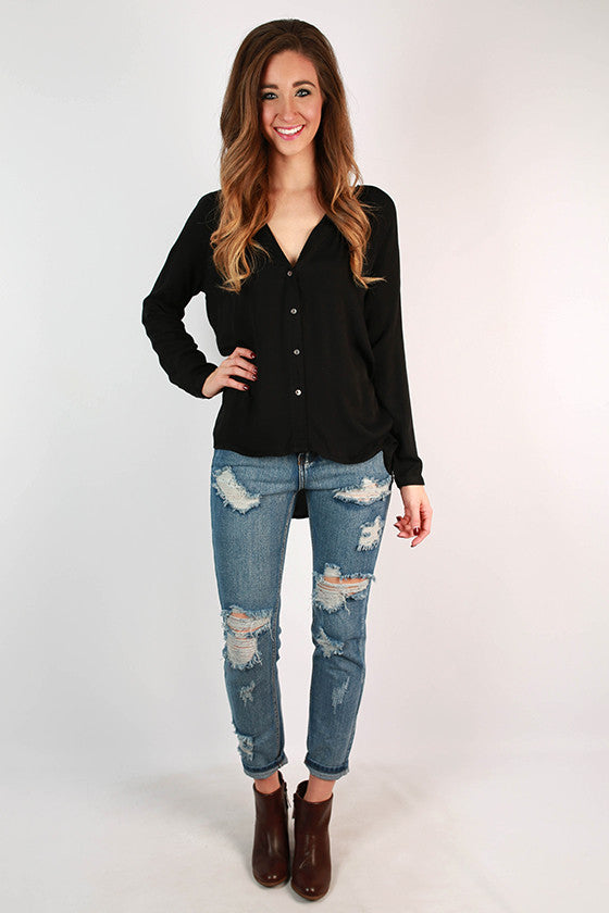 Sips & Sweets Button Top in Black
