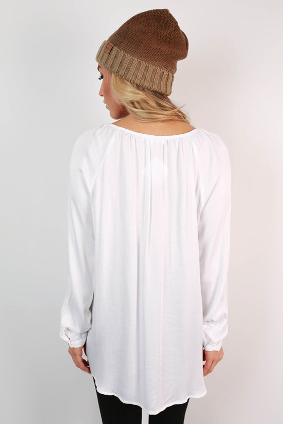 Sips & Sweets Button Top in White