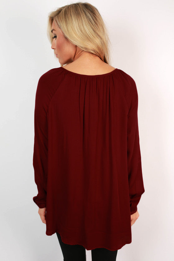Sips & Sweets Button Top in Cabernet
