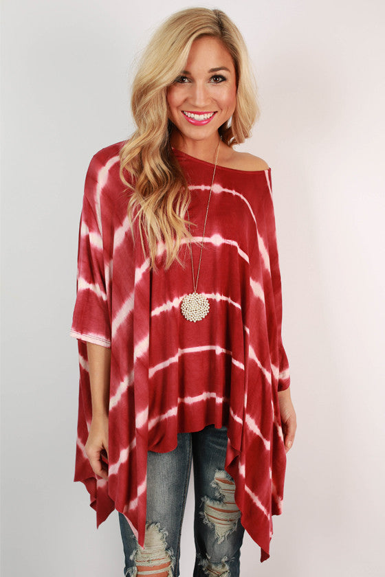 Mimosa & Matinee Tie Dye Top in Crimson