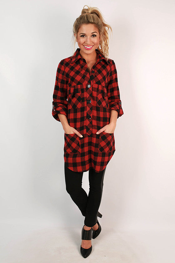 Weekend Ease Flannel Tunic in Red