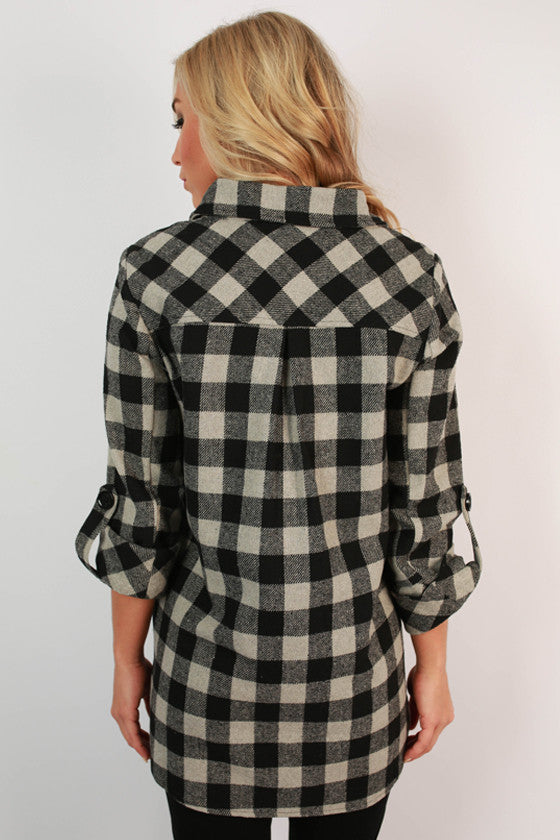 Weekend Ease Flannel Tunic in Grey