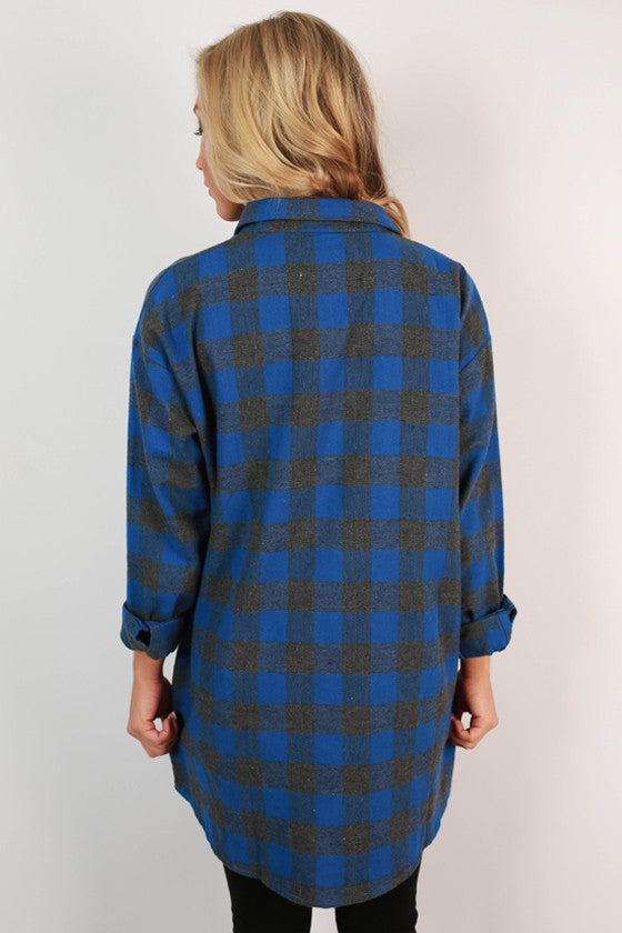 Porch Party Plaid Tunic in Sapphire