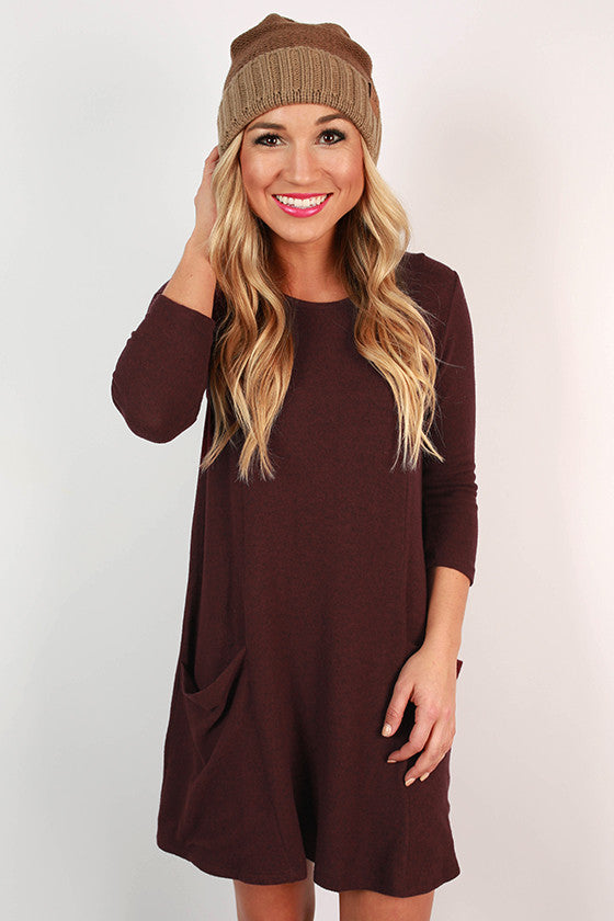 Pocket To Me Shift Dress in Maroon