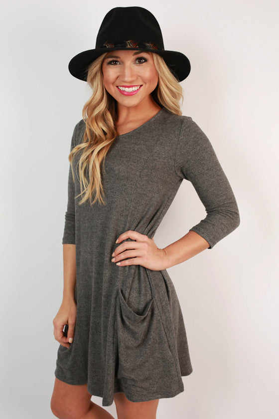 Pocket To Me Shift Dress in Charcoal