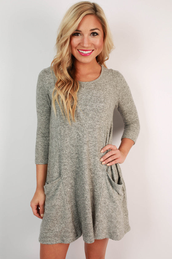 Pocket To Me Shift Dress in Grey