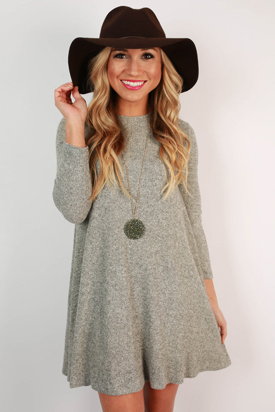 Beaver Creek Cuddles Shift Dress in Grey