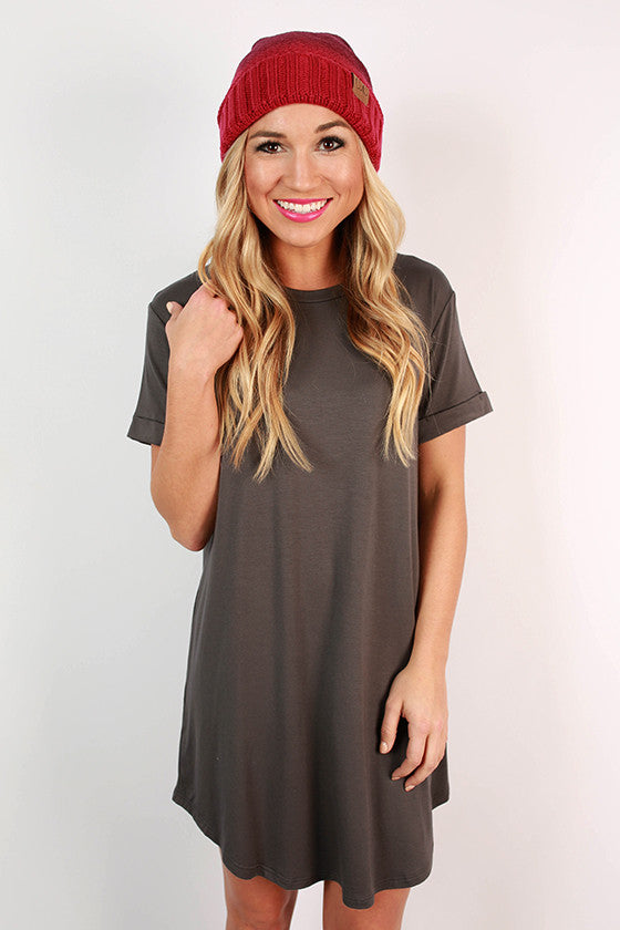 Take A Chance T-Shirt Dress in Dark Grey