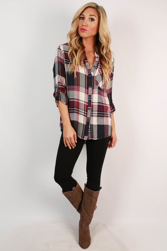 Lodge Bound Plaid Button Up Top