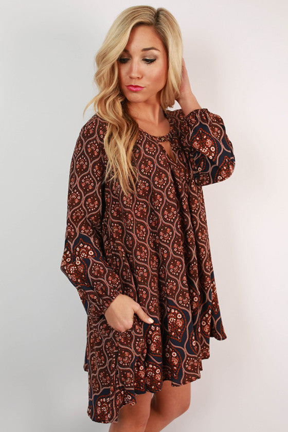 Sway With Me Print Tunic in Rust
