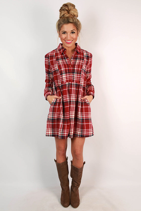 Pumpkin Patch Plaid Babydoll Dress