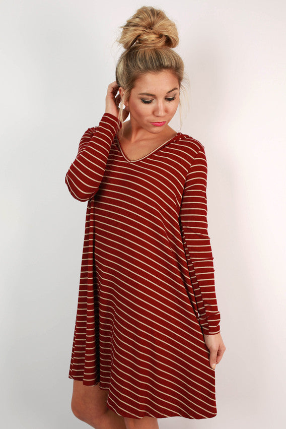 Talk Of The Town T-shirt Dress in Crimson