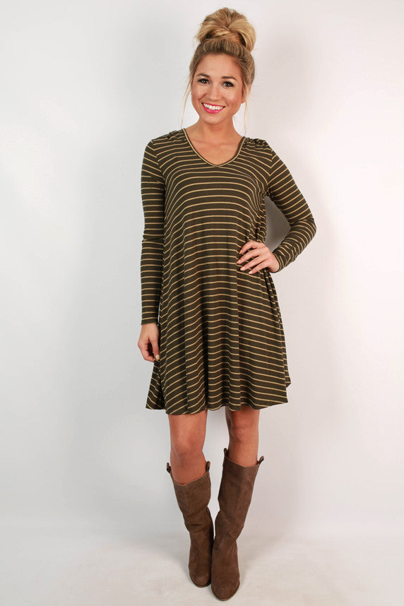 Talk Of The Town T-shirt Dress in Army Green