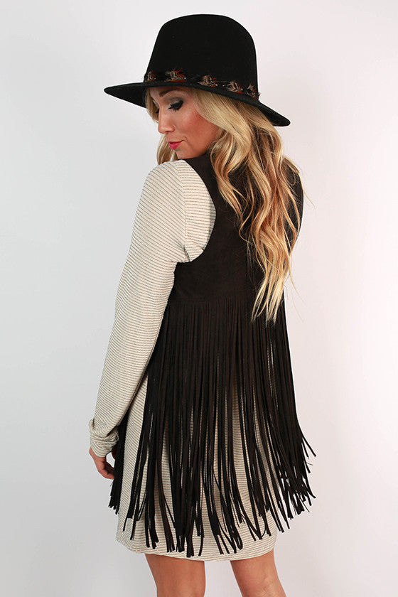 Snow Fall in Soho Fringe Vest in Black
