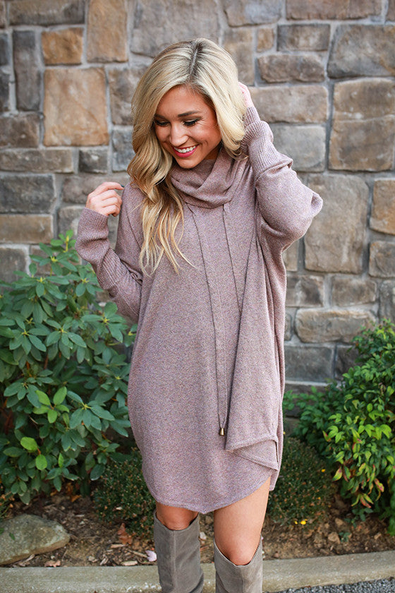 Cocoa in The Cabin Tunic Sweater in Dusty Purple
