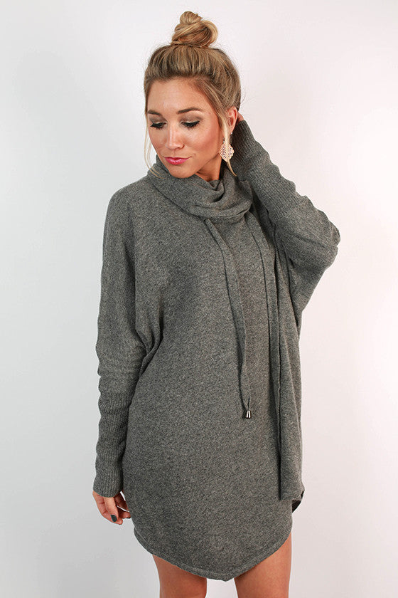 Cocoa in The Cabin Tunic Sweater in Dark Grey