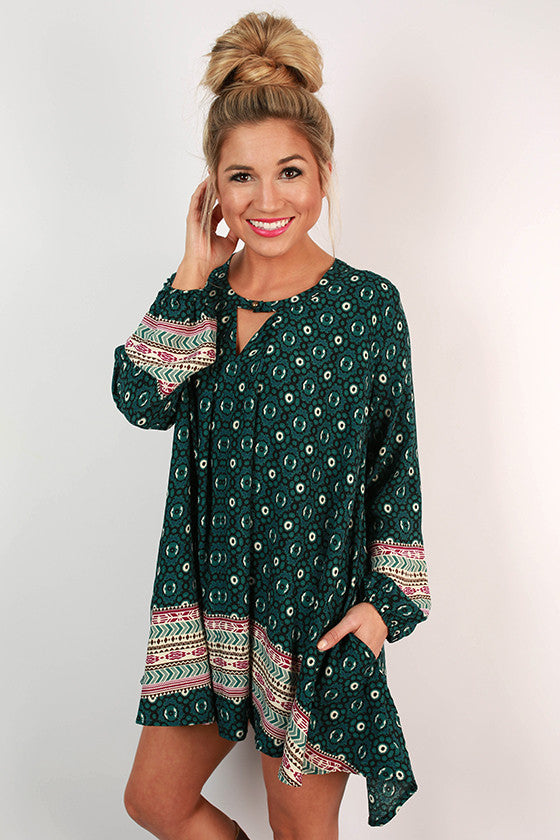 Sway With Me Print Tunic in Teal