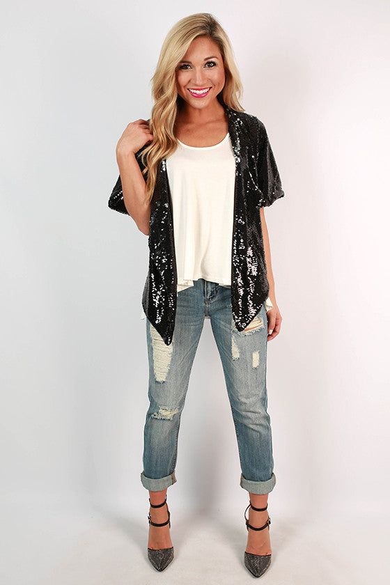 Reba Sequin Blazer in Black