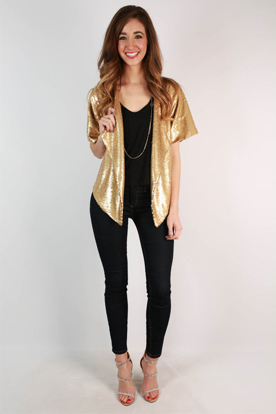 Reba Sequin Blazer in Gold