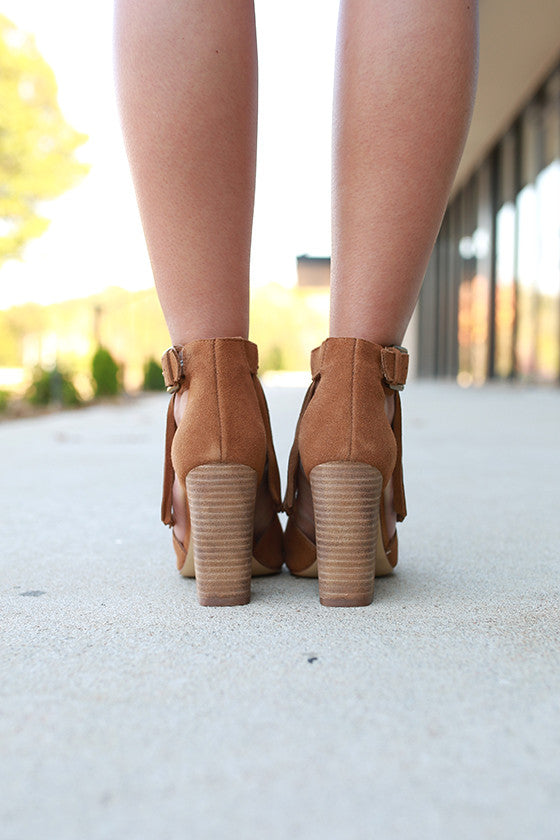 Boho Fringe Heel in Brown