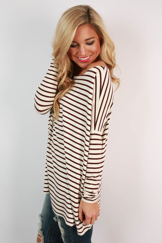 PIKO Long Sleeve Stripe Tee in Burgundy