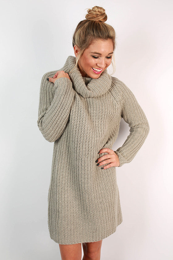 Pumpkin Spiced Beautiful Sweater Dress in Grey