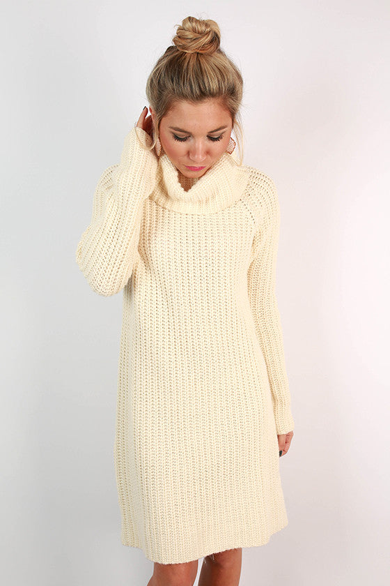 Pumpkin Spiced Beautiful Sweater Dress in Ivory