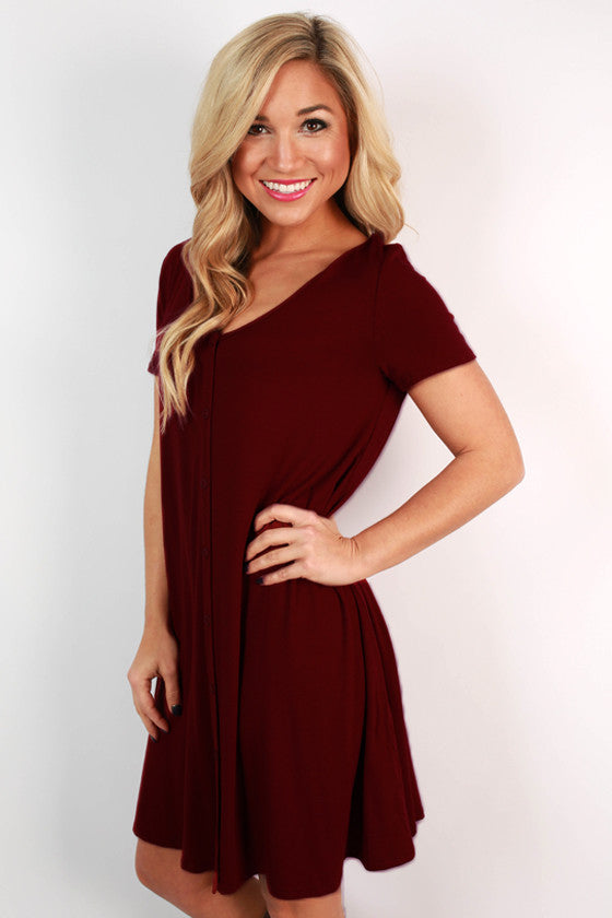 Keep It Current Shift Dress in Ruby Wine