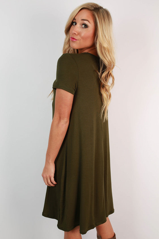 Keep It Current Shift Dress in Army Green