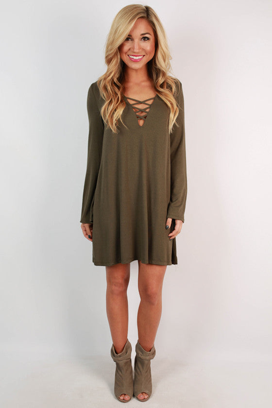 Le Chic Shift Dress in Army Green