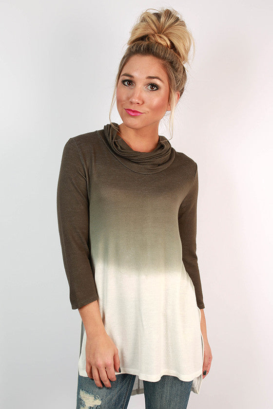Plot Twist Ombre Tunic in Army Green