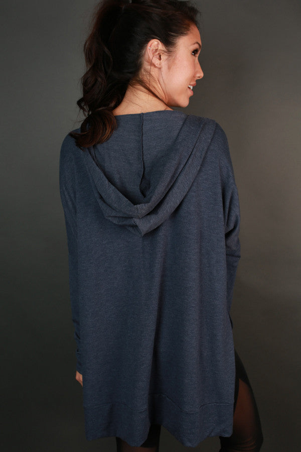 Chill Time Tunic Hoodie in Indigo Blue