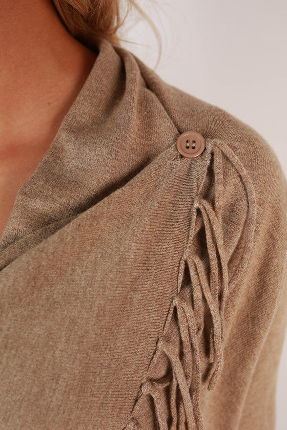 Afternoon in The Alps Cardigan in Taupe