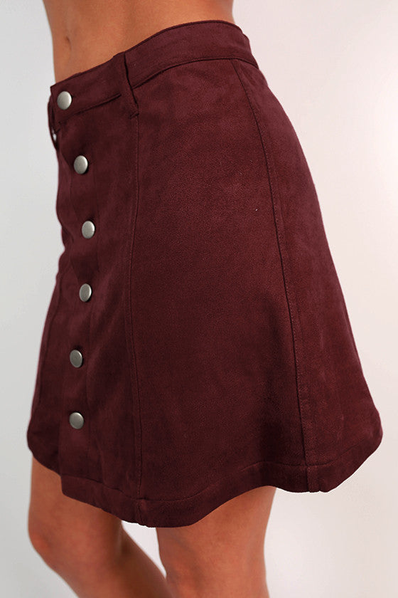 Skyline Views Faux Suede Skirt