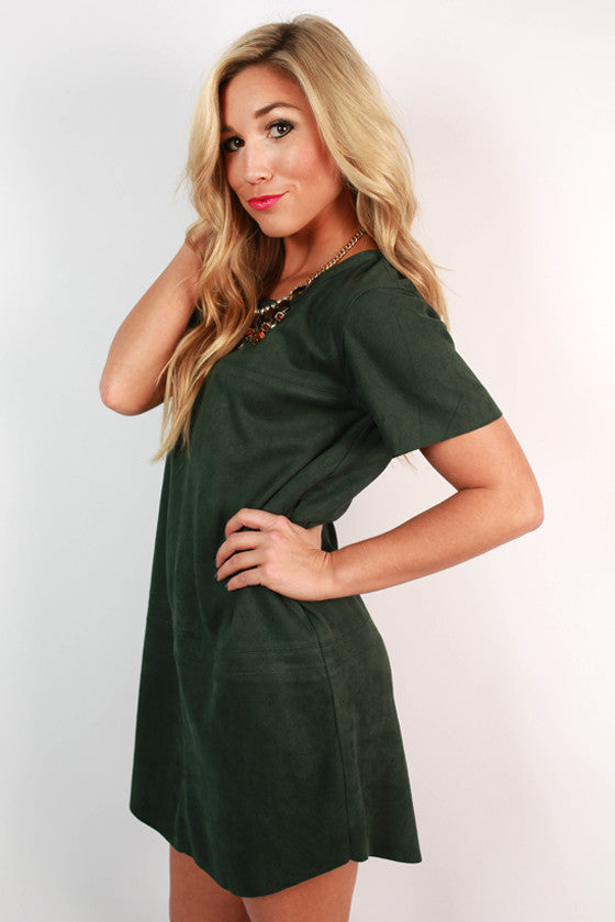 Soho Starlet Faux Suede Shift Dress in Hunter Green