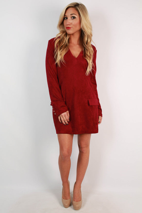 Venetian Vacation Faux Suede Dress in Sangria