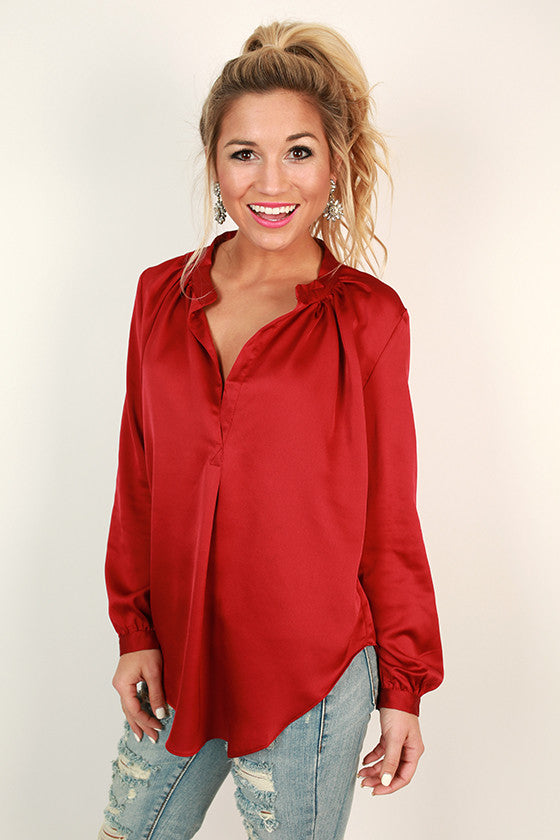 Juniper Darling Shimmer Top in Crimson