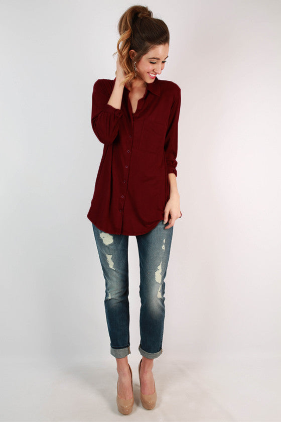 Not My Boyfriend Faux Suede Top in Sangria