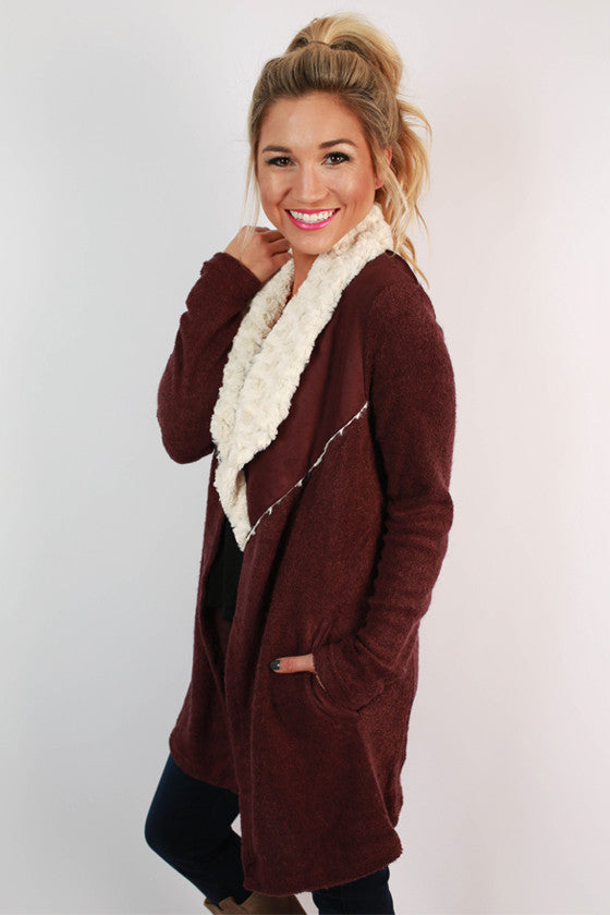 Afternoon In Aspen Faux Fur Cardigan