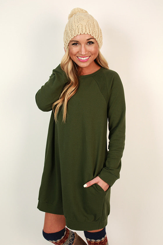 Cozy Jet Setting Sweatshirt Tunic Dress in Olive