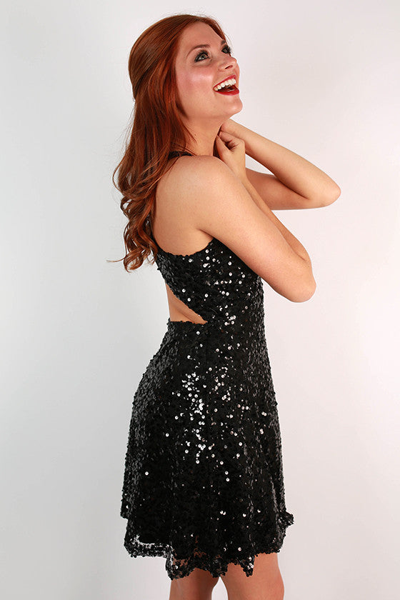 High Note Sequin Open Back Dress