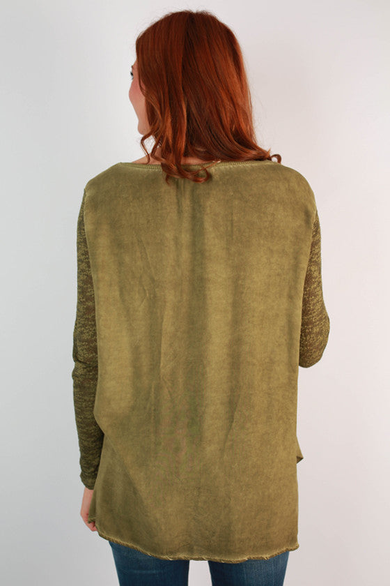 The After Party Slub Tunic in Army Green