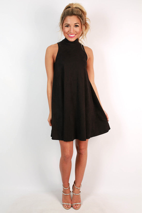 Grand Station Faux Suede Shift Dress