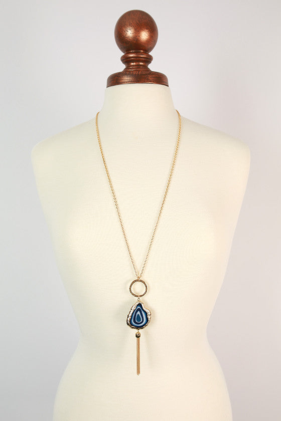 Cheers in Tuscany Tassel Necklace in Navy